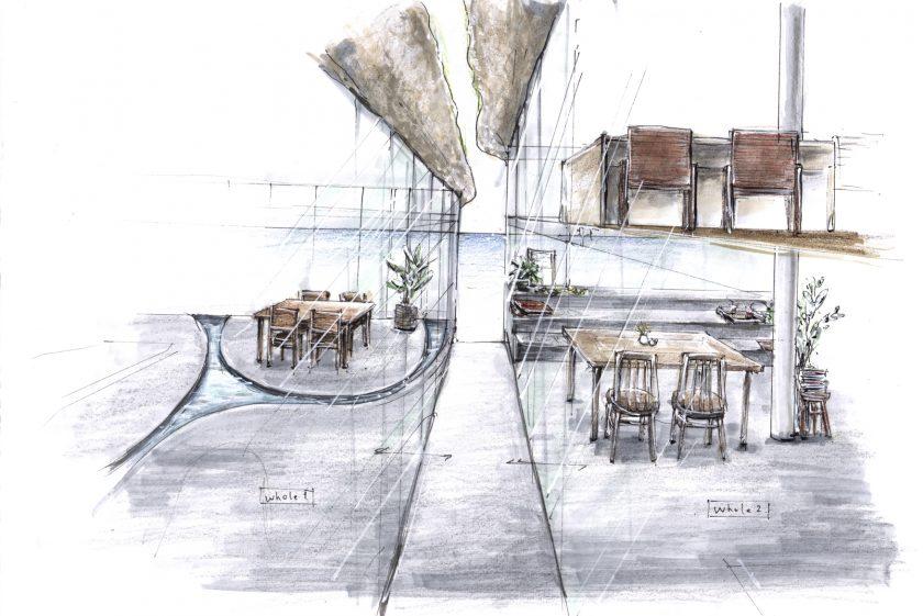 来春OPENの海が見えるカフェ whole 始動。